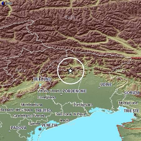 terremoto prealpi venete